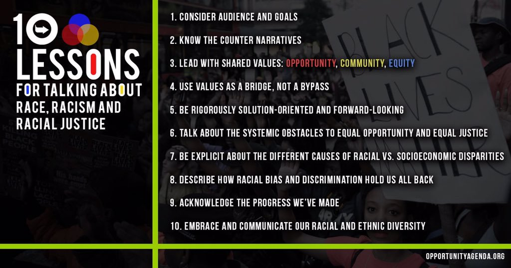 A graphic image of the 10 tips for talking about race, racism, and racial justice