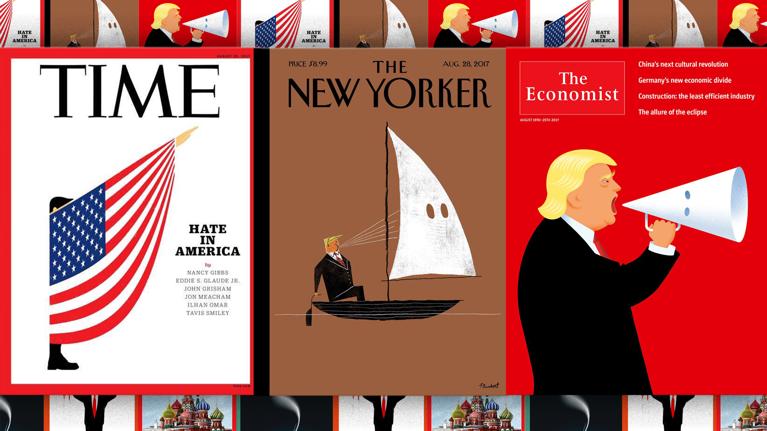 Magazine covers from Time, The Economist, and The New Yorker of cartoons portraying Donald Trump with a KKK hood or sail