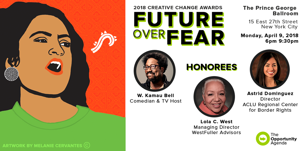 A promotional image of the 2018 Creative Change Awards honoring W. Kamau Bell, Astrid Dominguez, and Lola C. West