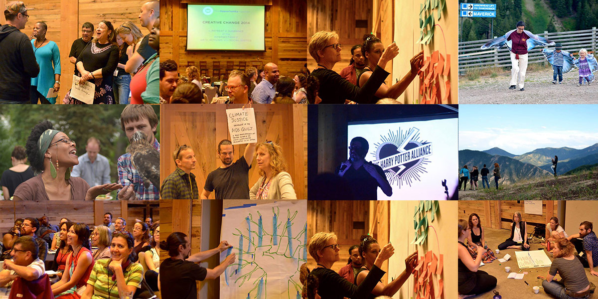 Photo collage of the 2014 Creative Change Retreat