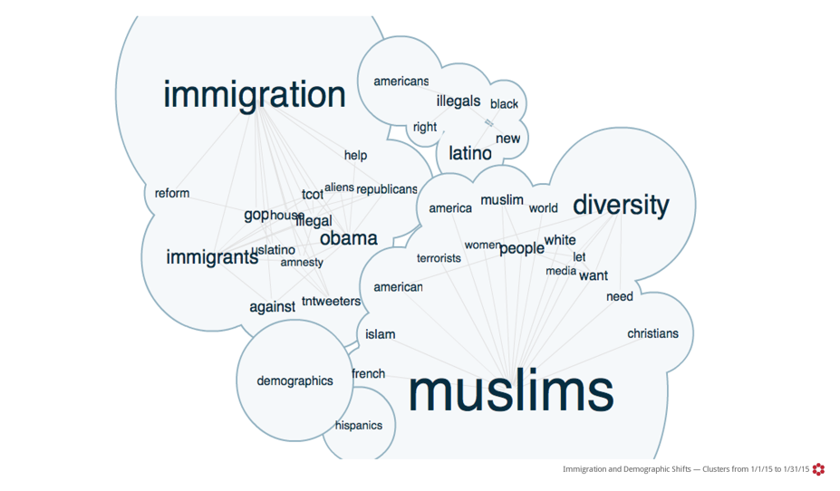 A Crimson Hexagon chart of words associated with immigration