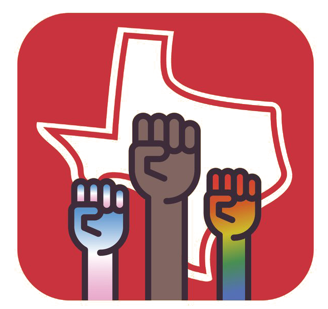 A drawing of the state of Texas with brown fists raised in the middle.