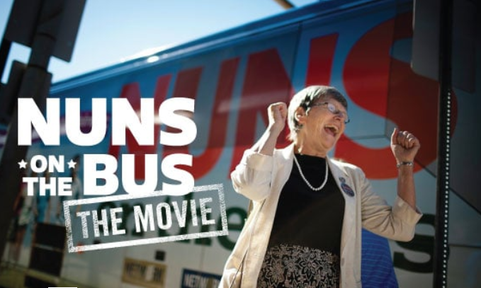A flyer from the documentary film Nuns on the Bus about Catholic nuns fighting to save democracy