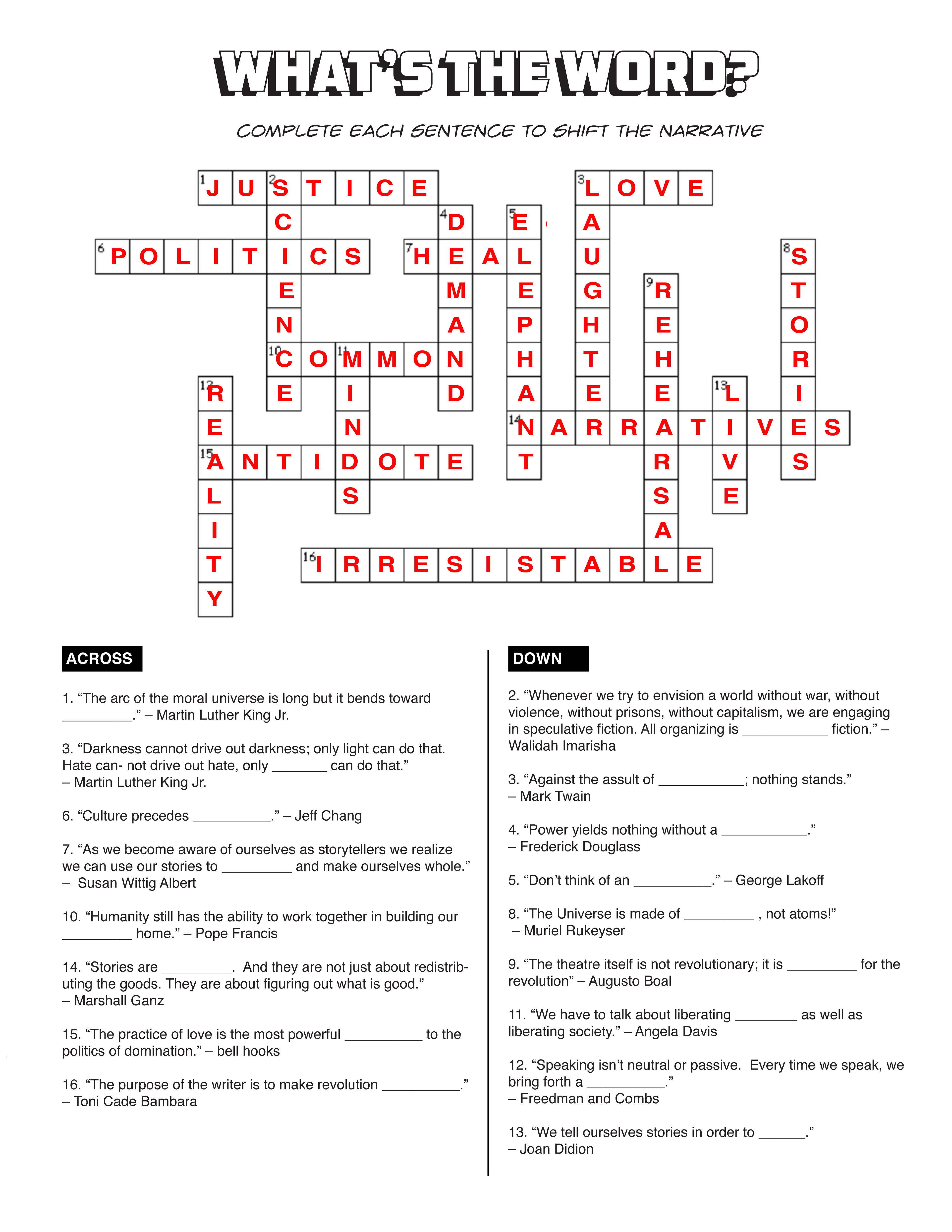 Answers to the crossword puzzle of the Helvetika Bold Activity Book on page 9