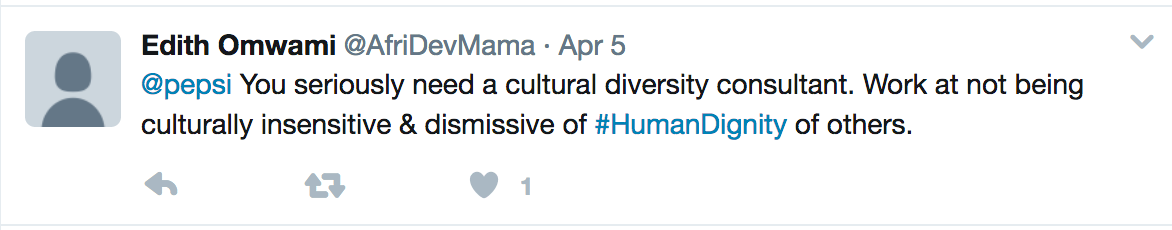 Tweet calling for Pepsi to hire diversity consultants