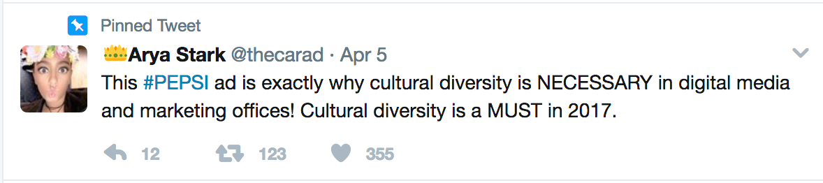 Tweet about why cultural diversity is needed in advertising and digital media