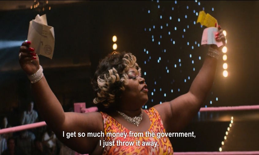 "A still image from the Netflix comedy-drama GLOW of the ""Welfare Queen"""