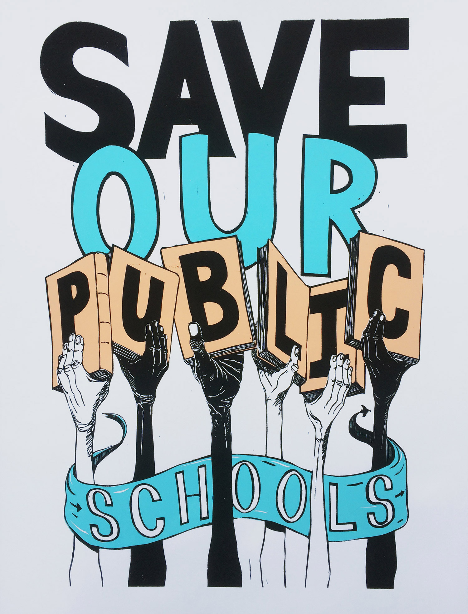 Graphic of Pete Railand of the Just Seeds art collective that reads Save Our Public Schools