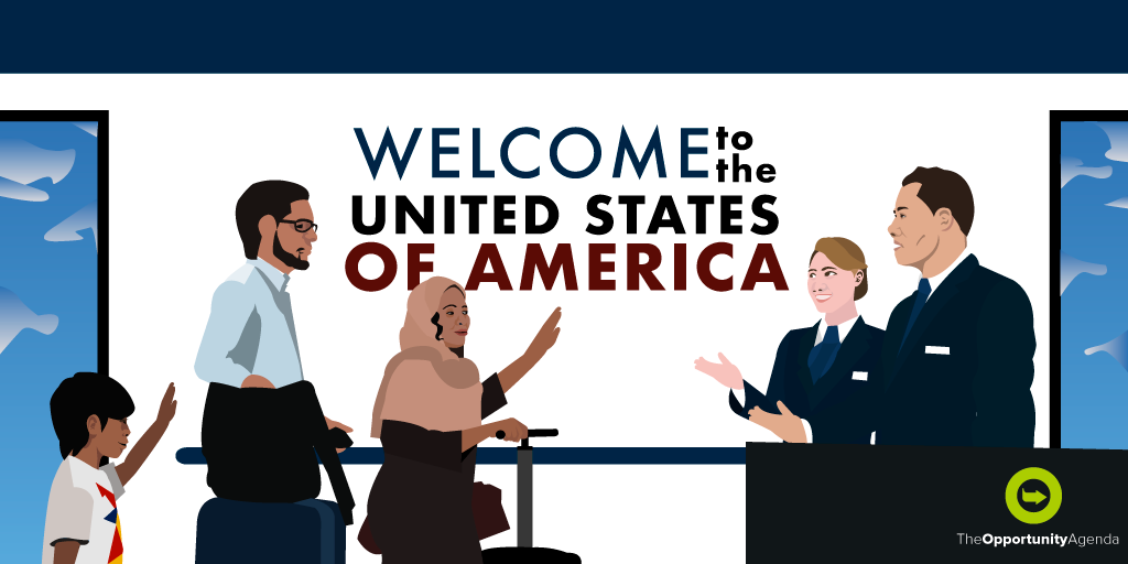 An illustration of a Muslim family being welcomed into the U.S. by Customs