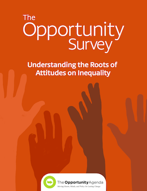 The cover of The Opportunity Survey with hands of many colors reaching up towards opportunity