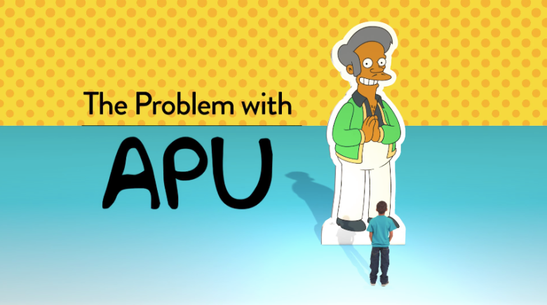 A photo of the documentary The Problem with Apu featuring the popular Indian character from The Simpsons