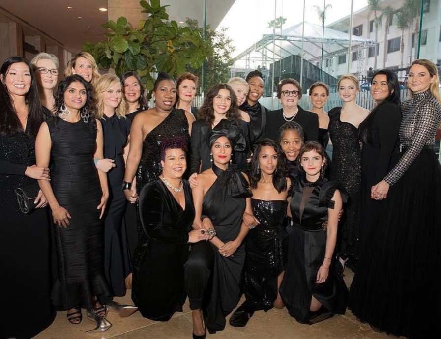 A photo of Hollywood actresses and activists who lead the Times Up initiative